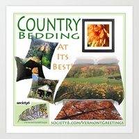 bedding Art Prints featuring Country Bedding Set from Vermont Greetings  by Vermont Greetings