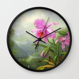 Hummingbird Perched On The Orchid Plant - Martin Johnson Heade Wall Clock