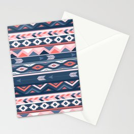 Coral and Navy Boho Ethnic Pattern Stationery Cards