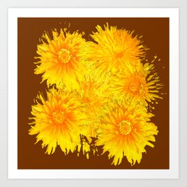 ABSTRACTED COFFEE BROWN   FIRST SPRING YELLOW DANDELIONS Art Print