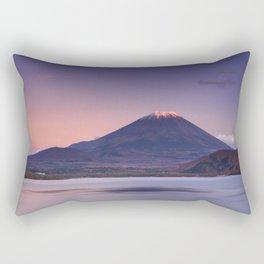 II - Last light on Mount Fuji and Lake Motosu, Japan Rectangular Pillow