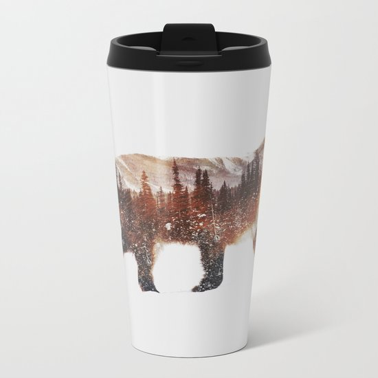 Arctic Red Fox Metal Travel Mug