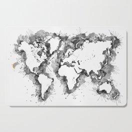 Watercolor splatters world map in grayscale Cutting Board