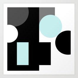 An abstract geometric pattern . Geometric shapes . Black sky blue white pattern . Art Print