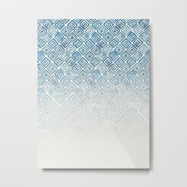 Ombre Watercolor Triangle Pattern (Blue) Metal Print