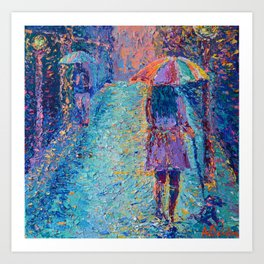 Girl with Rainbow Umbrella - figurative palette knife city landscape Valentines by Adriana Dziuba Art Print