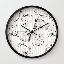Vintage Bunnies Wall Clock