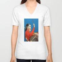korean V-neck T-shirts featuring Korean Drummer Girl by Robert S. Lee Art