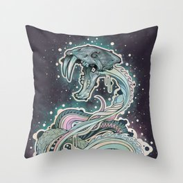 Saber-toothed Serpent in Space. Throw Pillow