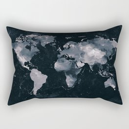 Dark Navy Marble World Map Rectangular Pillow