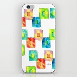 BE YOU AND IT'S OK square pattern inspirational quote abstract painting colorful illustration iPhone Skin