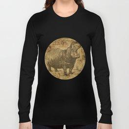 Vintage retro Hippo wildlife animal africa Long Sleeve T-shirt