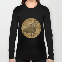 Vintage retro Hippo wildlife animal africa Long Sleeve T-shirt