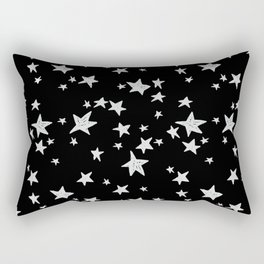 Linocut black and white stars outer space astronauts minimal Rectangular Pillow