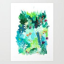 Twice Last Wednesday: Abstract Jungle Botanical Painting Art Print