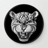 leopard Wall Clocks featuring Leopard by BIOWORKZ