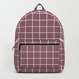 Raspberry glace - violet color - White Lines Grid Pattern Backpack