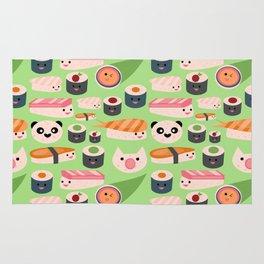 Kawaii sushi green Rug