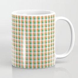 Small Orange White and Green Irish Gingham Check Plaid Coffee Mug