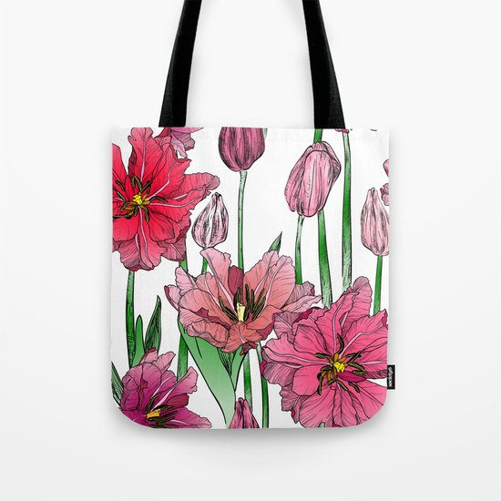 Pink Hibiscus Pattern Tote Bag