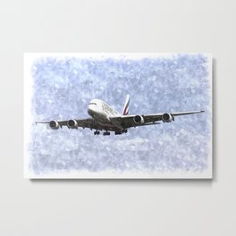 Emirates A380 Airbus Watercolour Metal Print