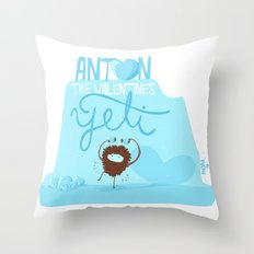 Anton, the Valentine´s Yeti Throw Pillow