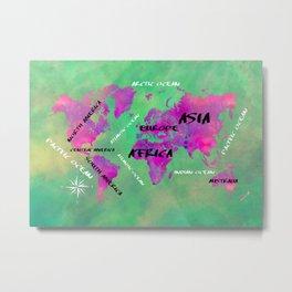 world map 121 green #map #worldmap Metal Print