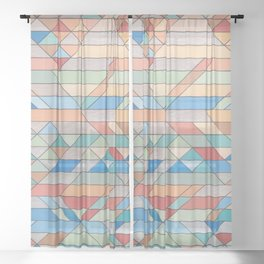 Triangle Pattern no.2 Colorful Sheer Curtain