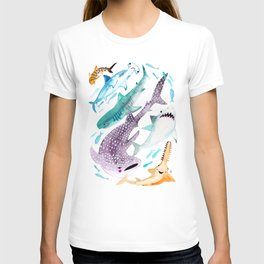 Help Stop Shark Finning - Watercolor Ocean Animals - Fish T-shirt