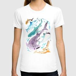 Help Stop Shark Finning - Watercolor Ocean Animals - Fish T-shirt