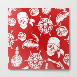 Red Pirate Pattern Metal Print