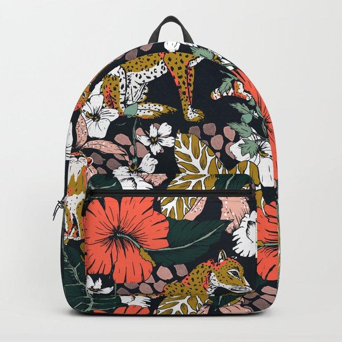 Animal print dark jungle Backpack