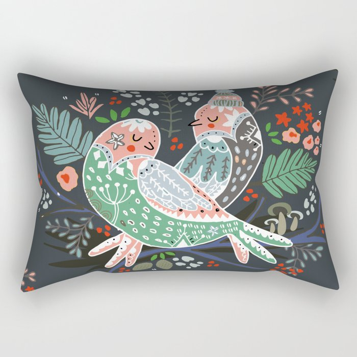 Holiday Birds Love Rectangular Pillow