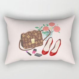 Classic Friday Night, bag, shoes, flower, make up, lipstick art print, girly illustration Rectangular Pillow