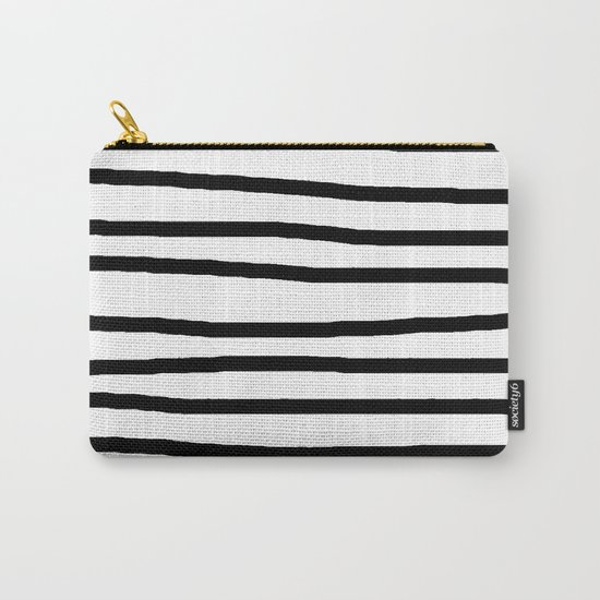 Simply Drawn Stripes in Midnight Black Carry-All Pouch