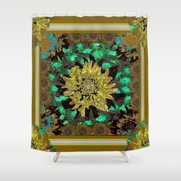 Stylized Abstracted  Khaki-Yellow Chrysanthemums Floral Shower Curtain