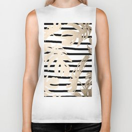 Simply Tropical White Gold Sands Palm Leaves on Stripes Biker Tank