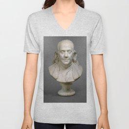 Historical Bust of Ben Franklin Photograph (1778) Unisex V-Neck