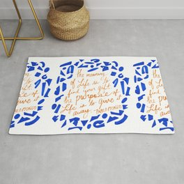 Picasso Quote in Cobalt and Gold Rug