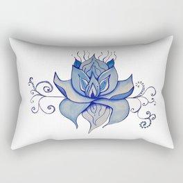 Watercolor Blue Lotus Rectangular Pillow