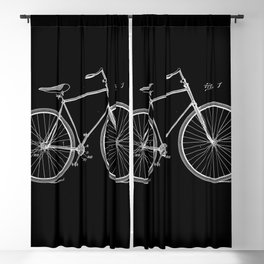 Vintage Bicycle Patent Black Blackout Curtain