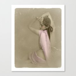 """""""Mattaharish"""" - The Playful Pinup - Vintage Weathered Pinup Girl by Maxwell H. Johnson Canvas Print"""