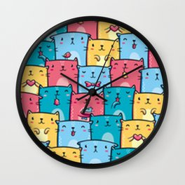 Cute Kawaii Kitty Pattern Wall Clock