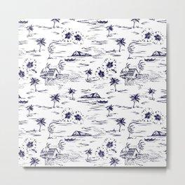 Tropical Island Vintage Hawaii Summer Pattern in Navy Blue Metal Print