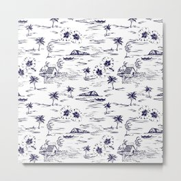 Tropical Island Vintage Hawaii Summer Pattern in Navy Blue Metal Print
