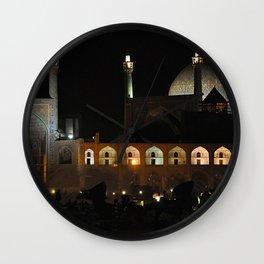 Persian Architecture Night View Mosque facade, Isfahan, Iran Wall Clock