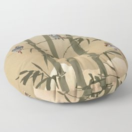 Sparrows And Bamboo Floor Pillow