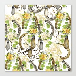 Watercolor horseshoes with roses Canvas Print