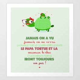 Famille tortue Art Print