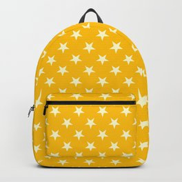 Cream Yellow on Amber Orange Stars Backpack